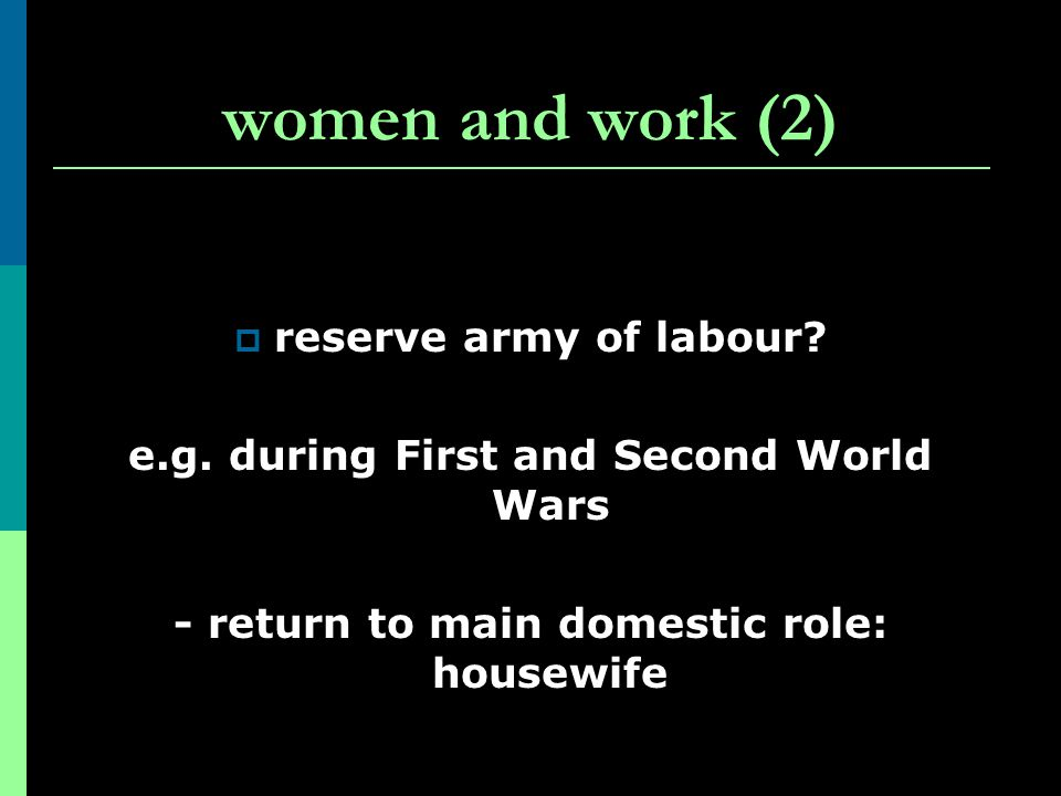 women and work (2) reserve army of labour