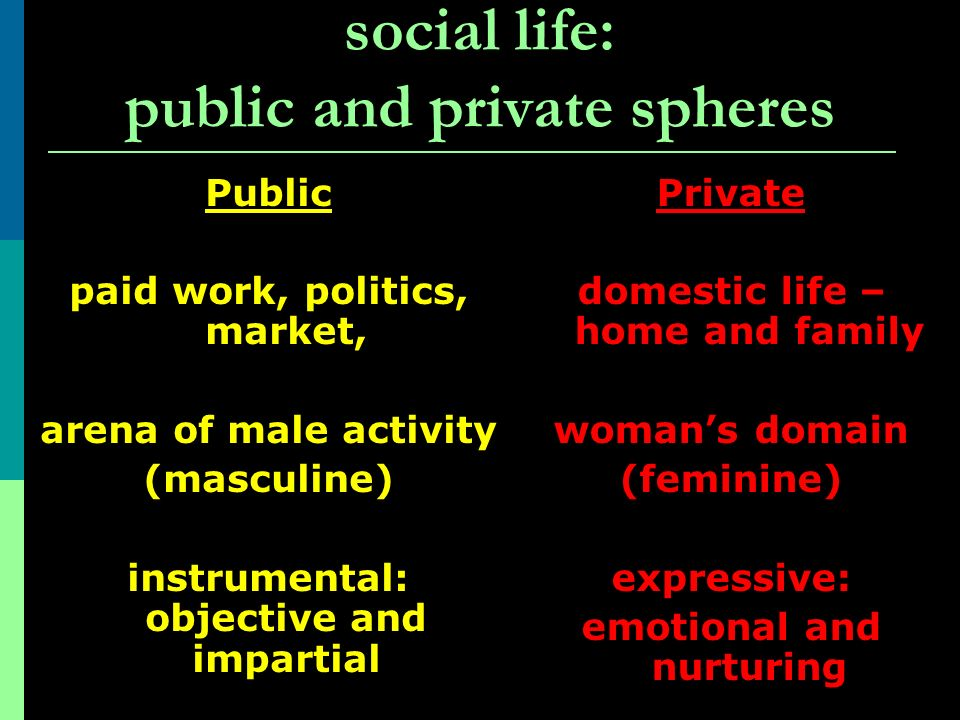 social life: public and private spheres