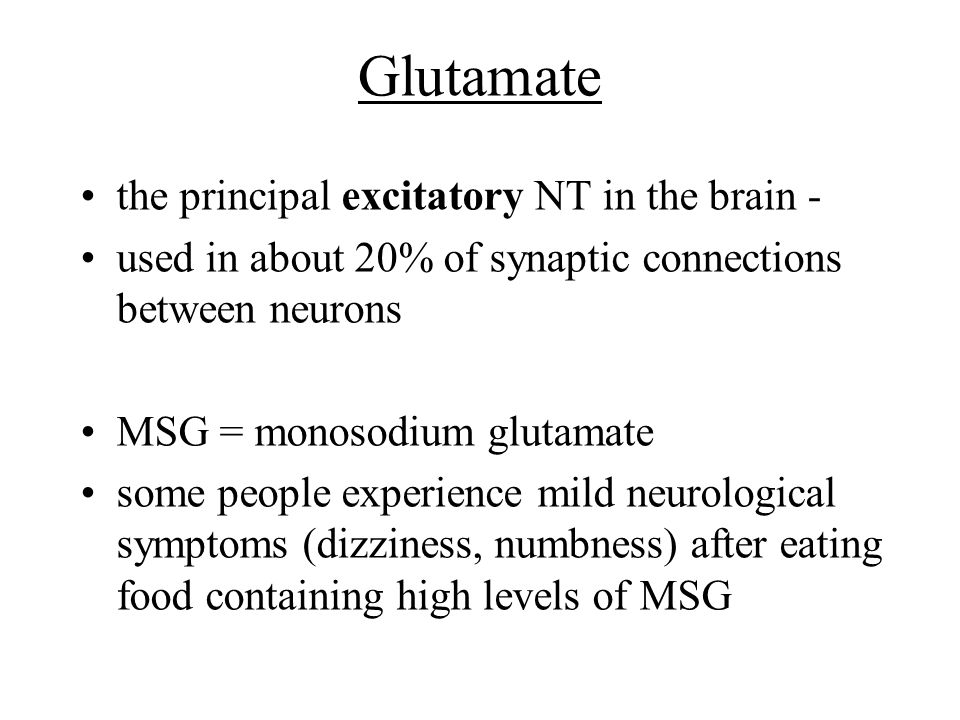Glutamate the principal excitatory NT in the brain -