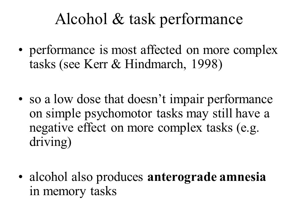 Alcohol & task performance