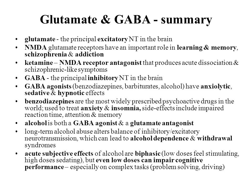 the role of gaba and nmda These data support a role for nmda receptors, particularly those in the vta, in the conditioned rewarding effects of nicotine  gaba and nicotine dependence gaba .