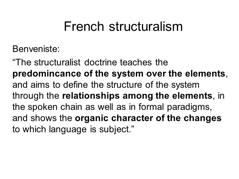 French structuralism Benveniste: