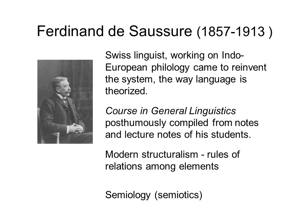 a biography of ferdinand de saussure one of the fathers of 20th century linguistics and semiology Ferdinand de saussure linguistics: notable ideas structural linguistics semiology langue and parole signified and signifier synchrony and diachrony.