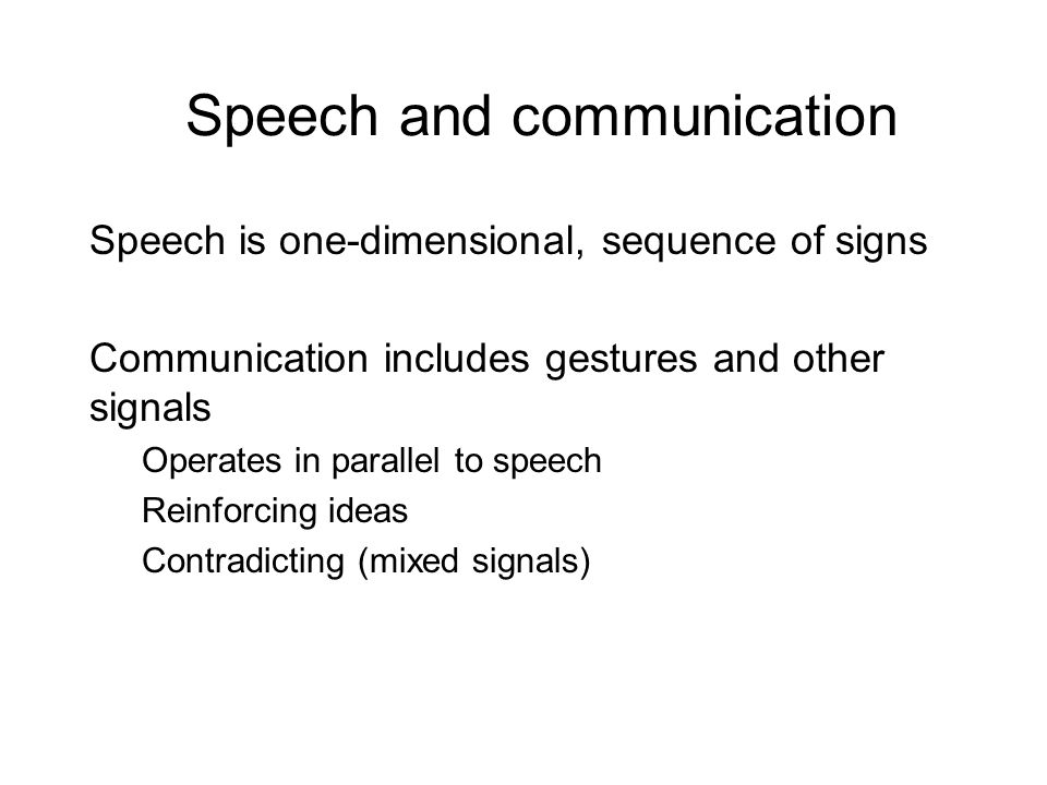 Speech and communication