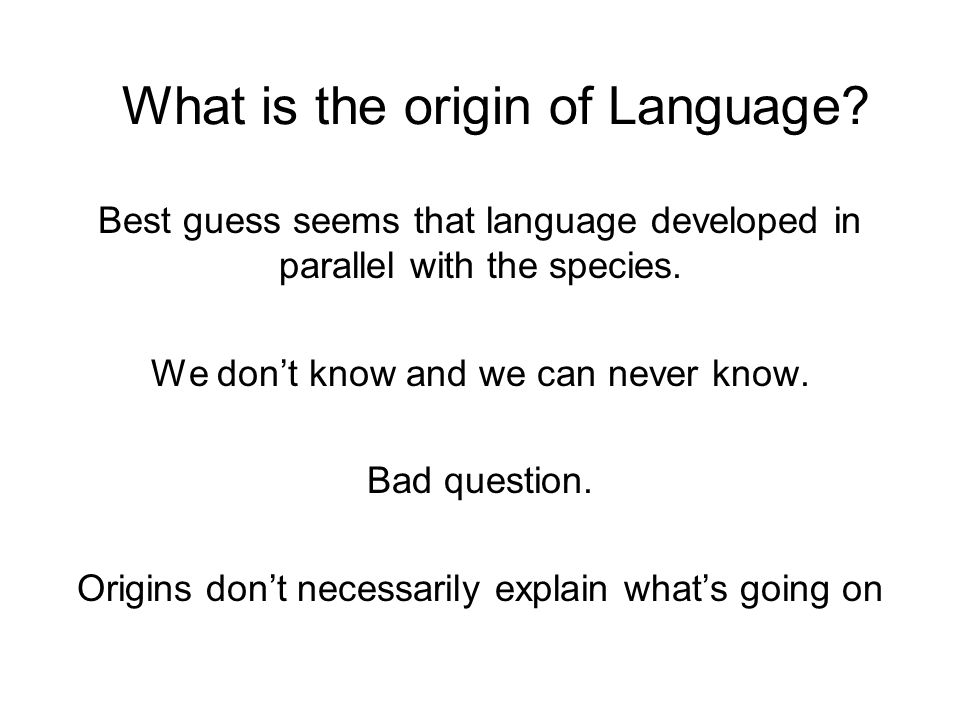 What is the origin of Language
