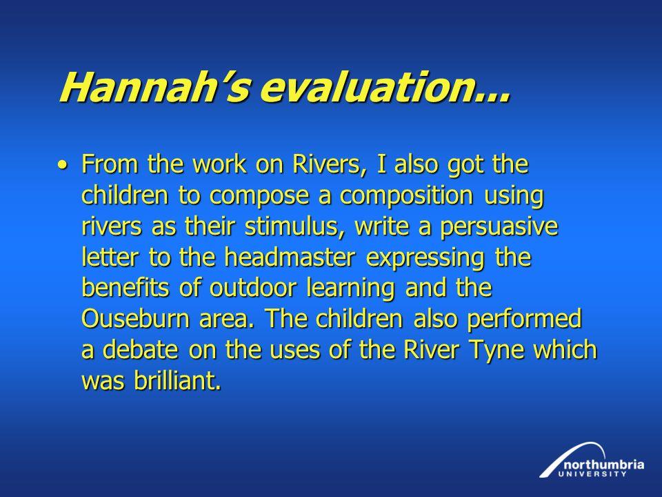 Hannah's evaluation...