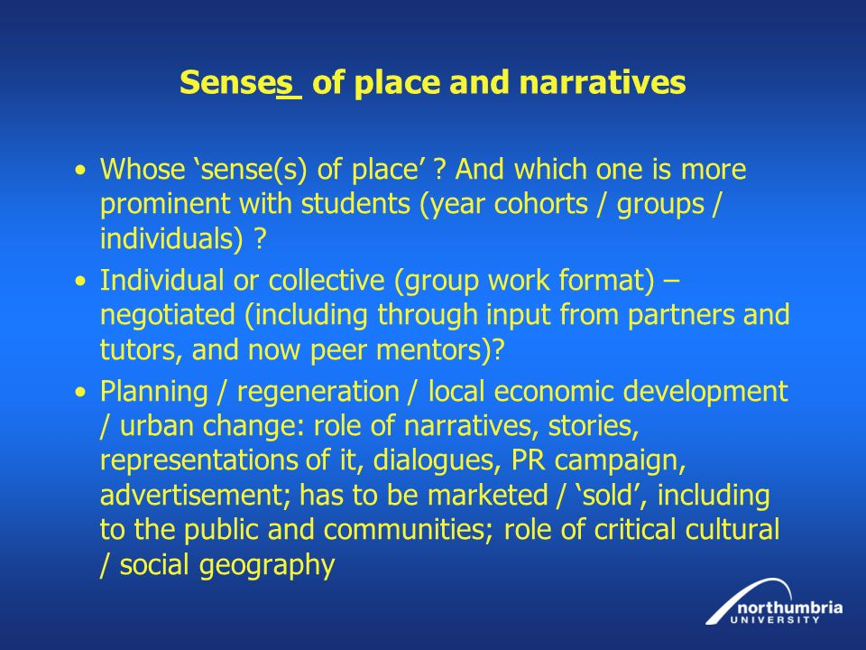 Senses of place and narratives