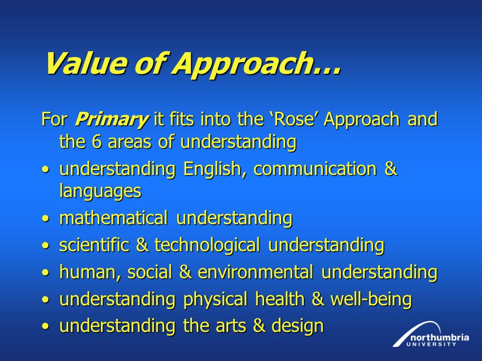 Value of Approach… For Primary it fits into the 'Rose' Approach and the 6 areas of understanding. understanding English, communication & languages.