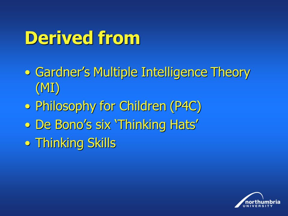 Derived from Gardner's Multiple Intelligence Theory (MI)