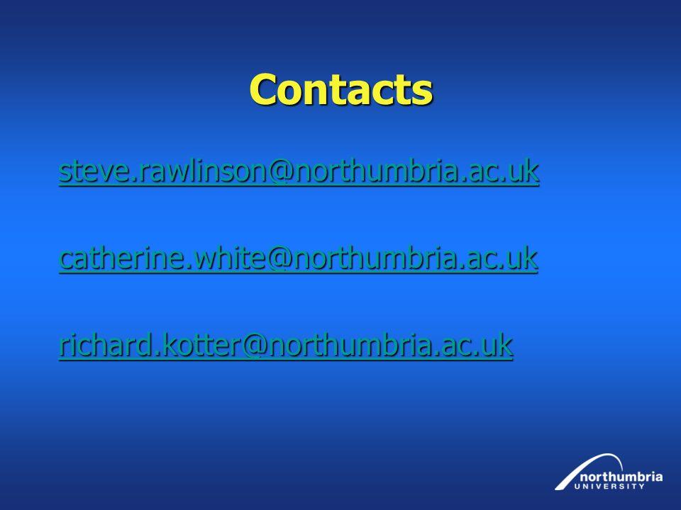 Contacts steve.rawlinson@northumbria.ac.uk catherine.white@northumbria.ac.uk richard.kotter@northumbria.ac.uk
