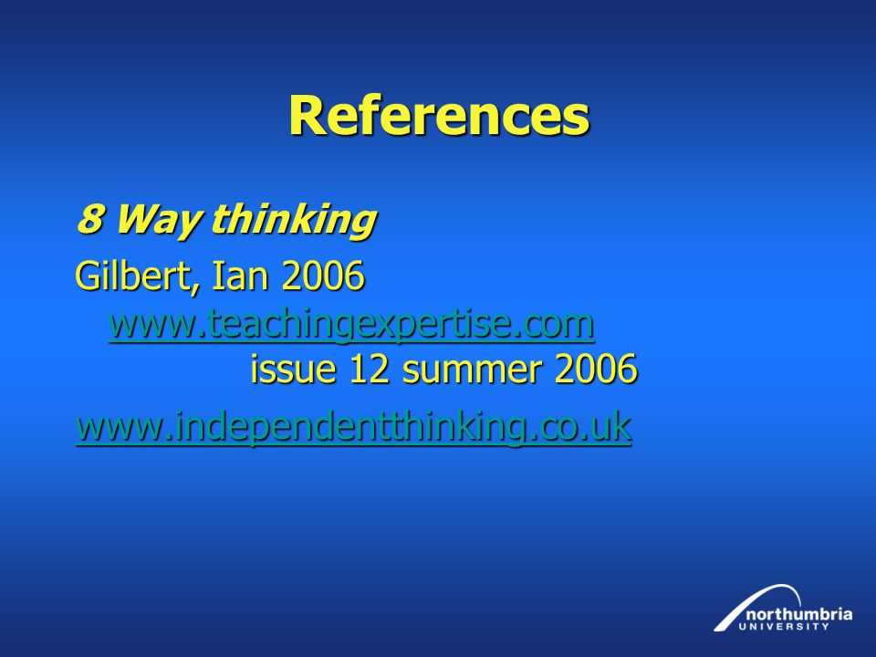 References 8 Way thinking