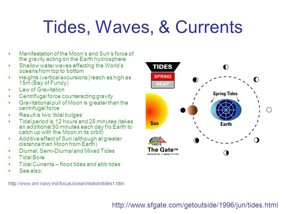 Tides, Waves, & Currents Manifestation of the Moon's and Sun's force of the gravity acting on the Earth hydrosphere.