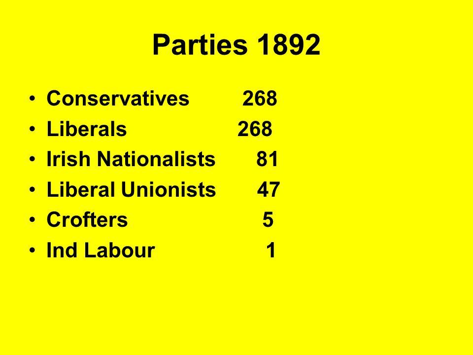 Parties 1892 Conservatives 268 Liberals 268 Irish Nationalists 81