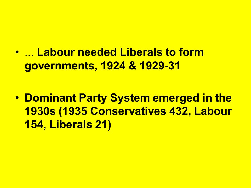 ... Labour needed Liberals to form governments, 1924 & 1929-31