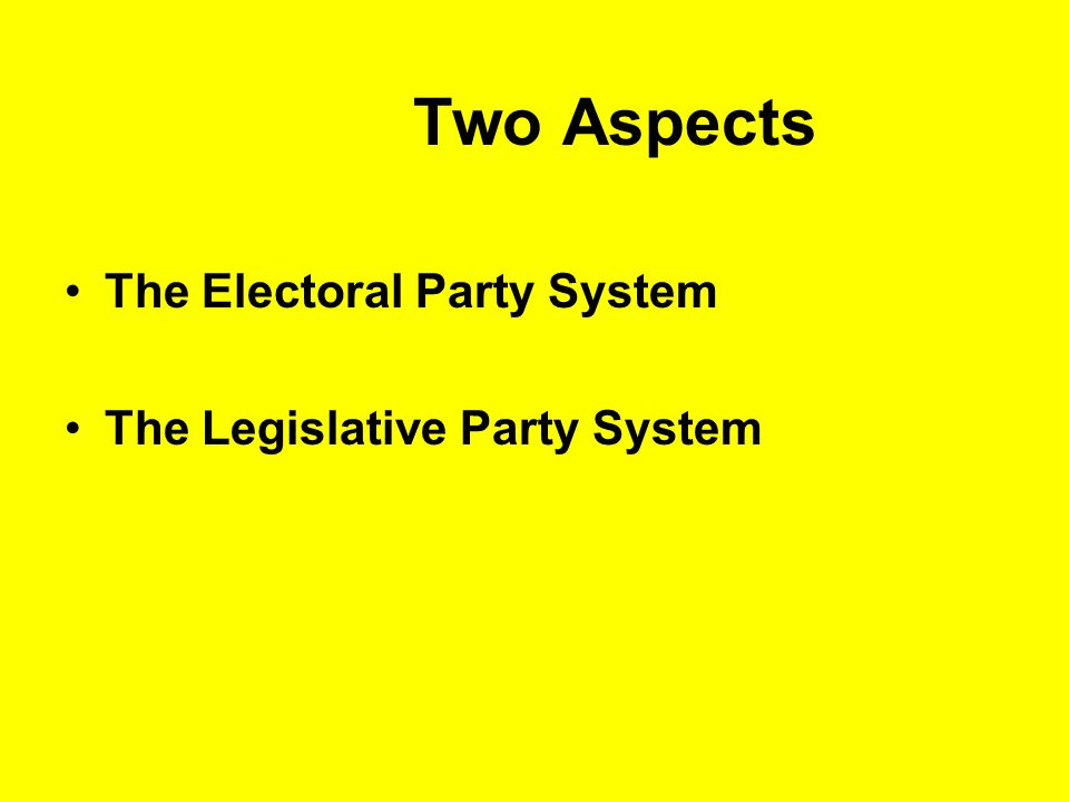 Two Aspects The Electoral Party System The Legislative Party System