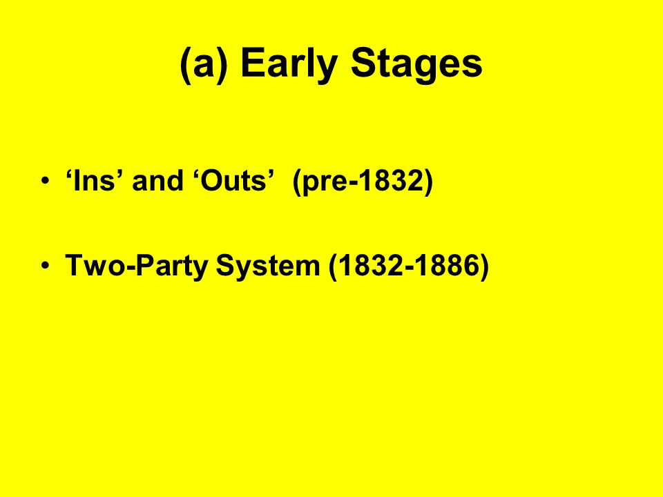 (a) Early Stages 'Ins' and 'Outs' (pre-1832)