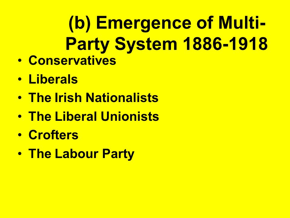 (b) Emergence of Multi-Party System 1886-1918