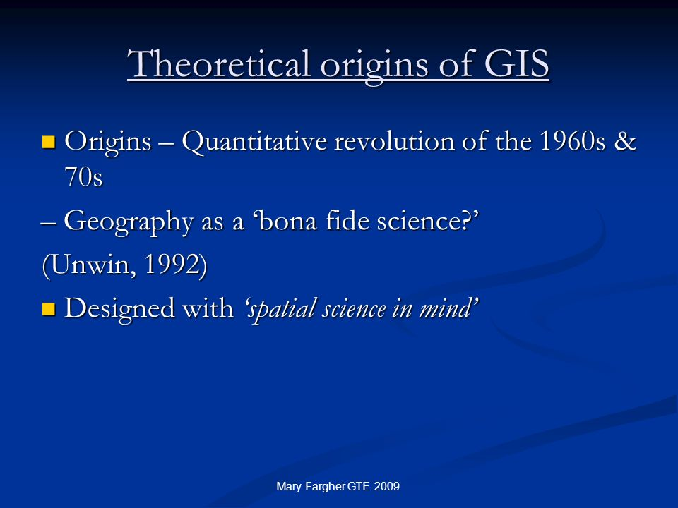 Theoretical origins of GIS