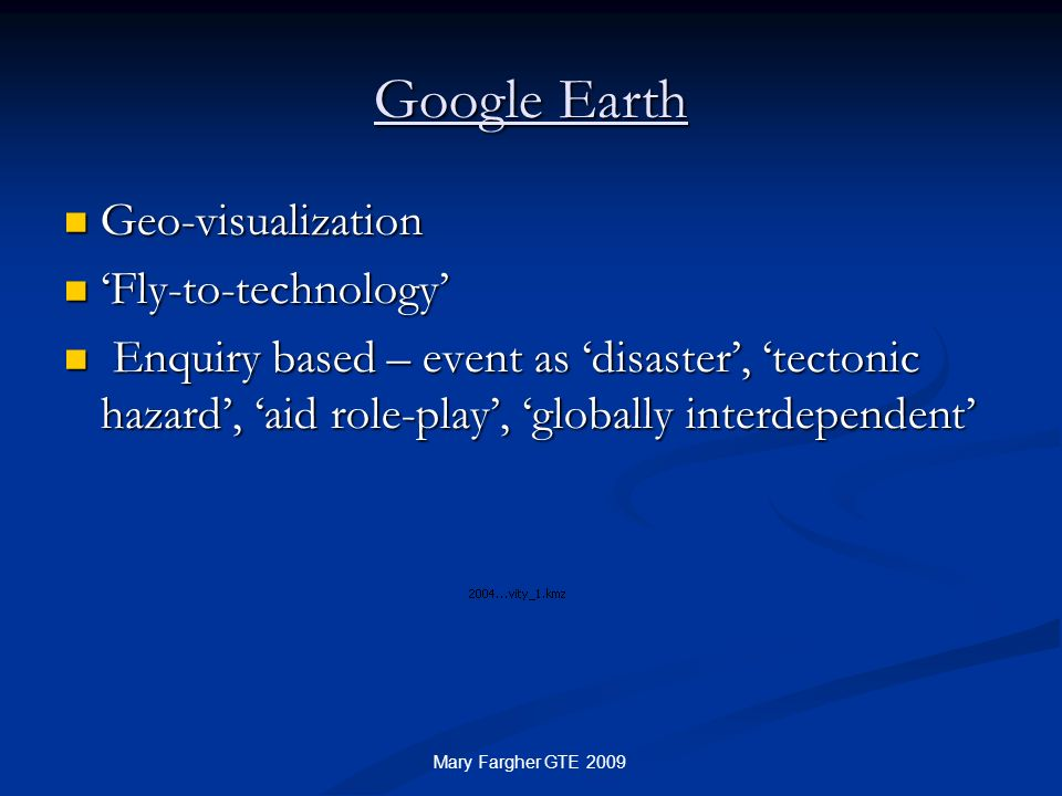 Google Earth Geo-visualization 'Fly-to-technology'