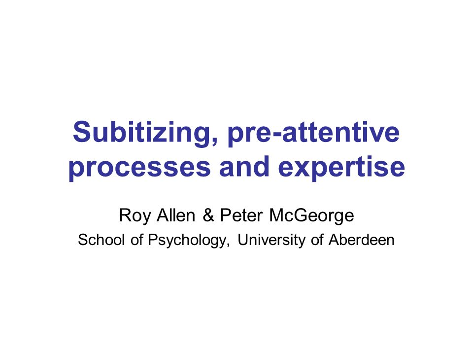 Subitizing, pre-attentive processes and expertise