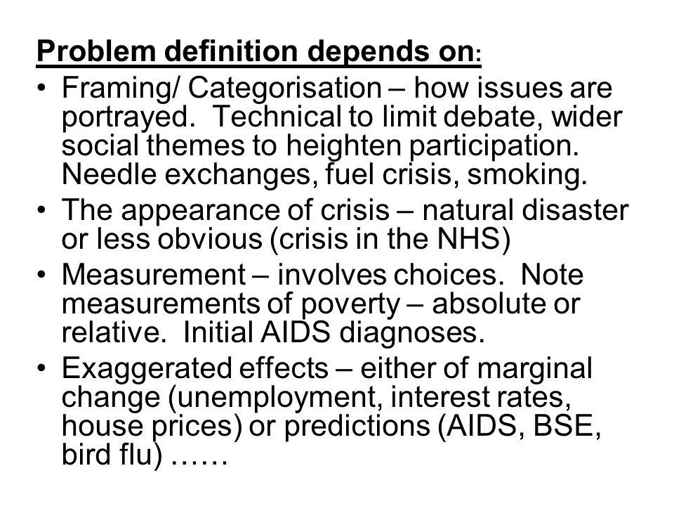 Problem definition depends on: