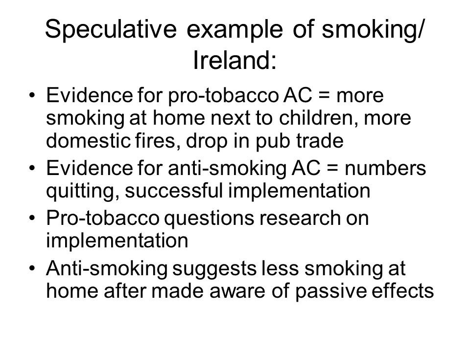 Speculative example of smoking/ Ireland: