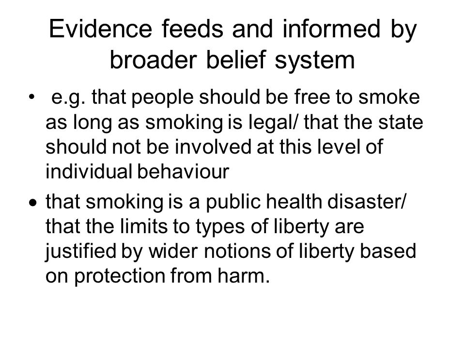 Evidence feeds and informed by broader belief system