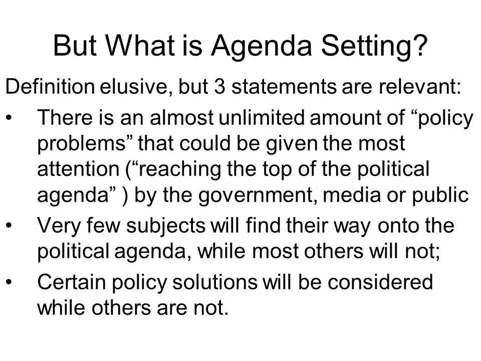 Week  Policy Networks And Change  Agenda Setting Punctuated