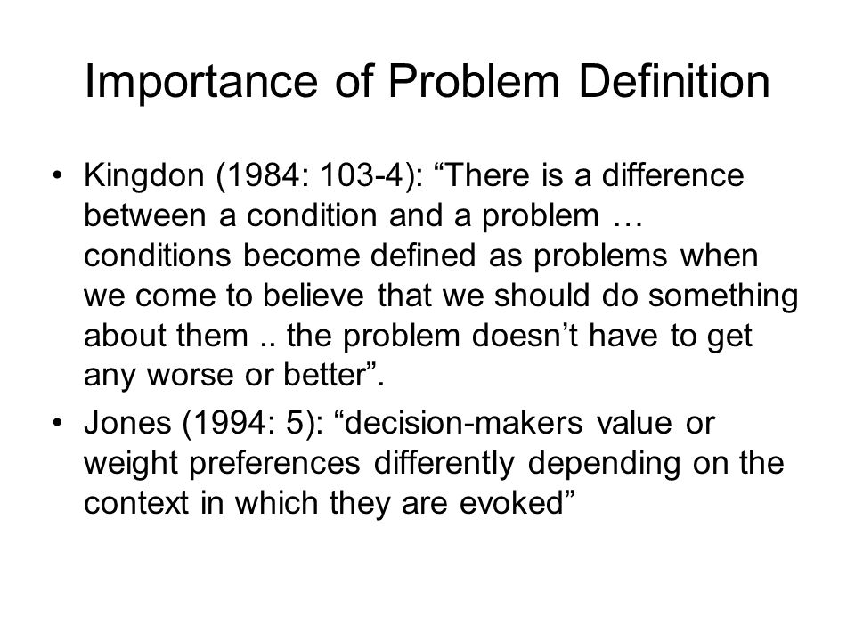Importance of Problem Definition