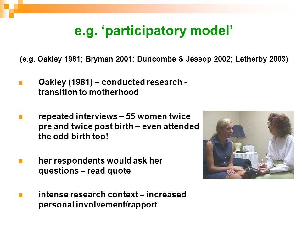 e. g. 'participatory model' (e. g