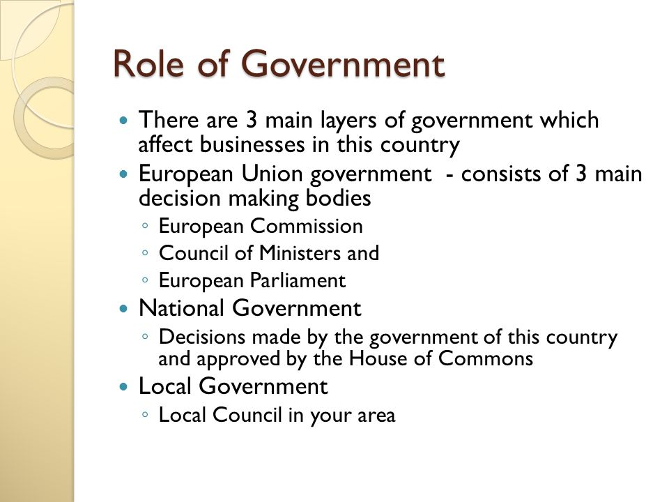 The role of government and the