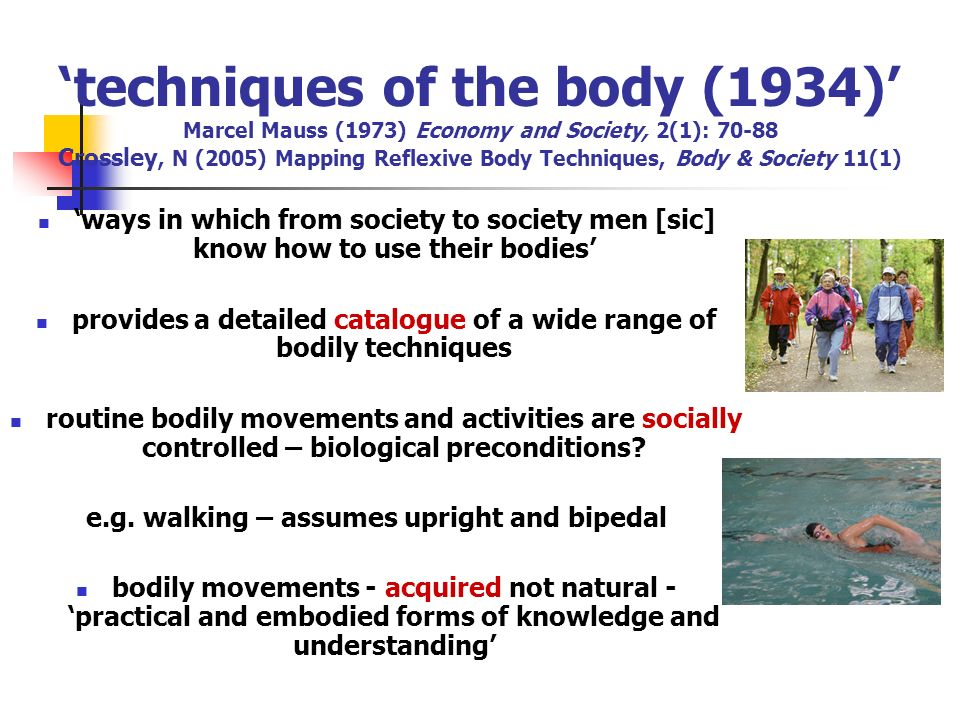 'techniques of the body (1934)' Marcel Mauss (1973) Economy and Society, 2(1): 70-88 Crossley, N (2005) Mapping Reflexive Body Techniques, Body & Society 11(1)