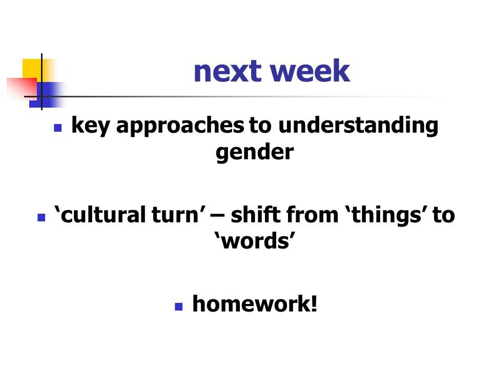 next week key approaches to understanding gender