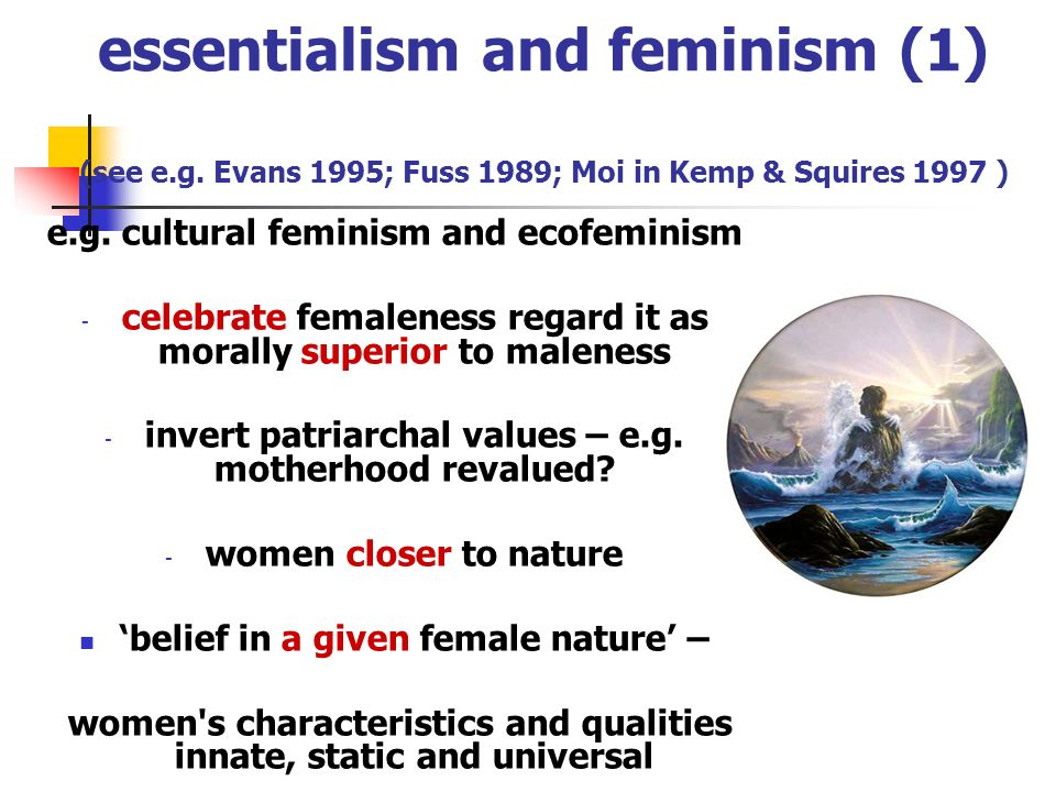 essentialism and feminism (1) (see e. g
