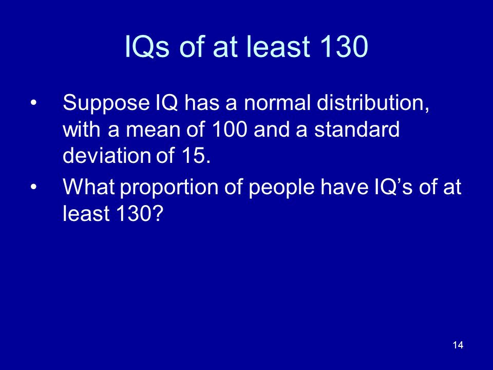 IQs of at least 130 Suppose IQ has a normal distribution, with a mean of 100 and a standard deviation of 15.