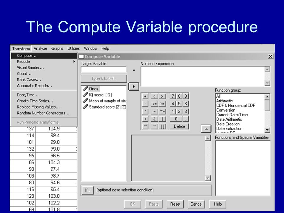 The Compute Variable procedure