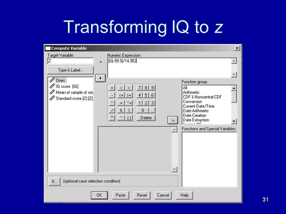 Transforming IQ to z