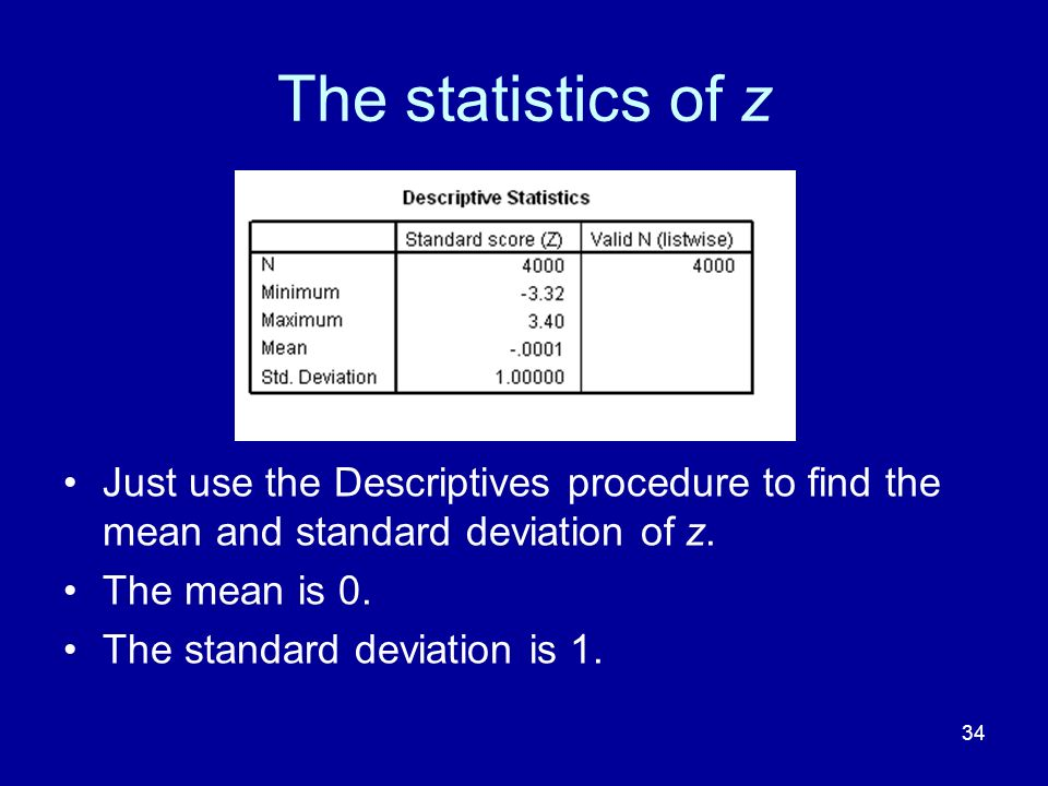 The statistics of z Just use the Descriptives procedure to find the mean and standard deviation of z.