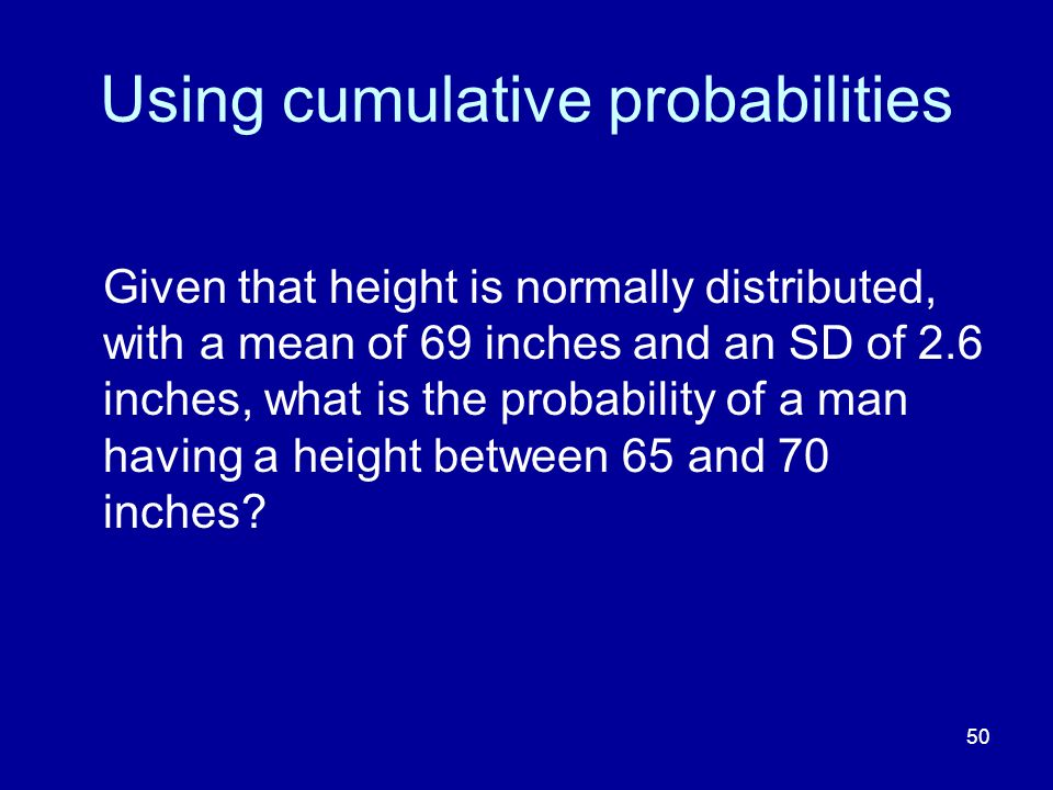 Using cumulative probabilities