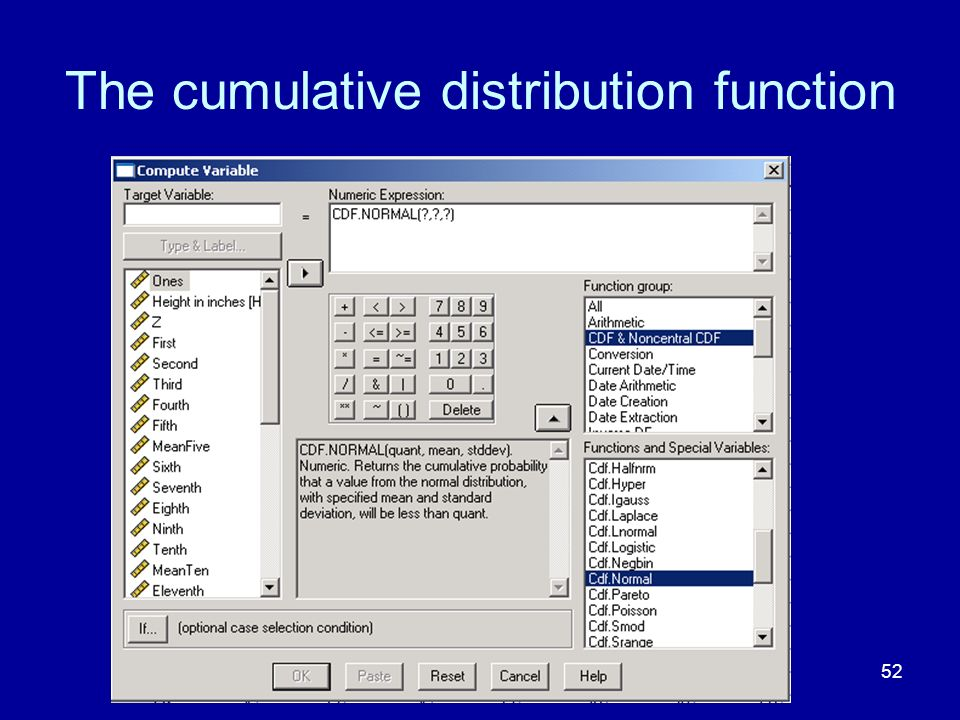 The cumulative distribution function