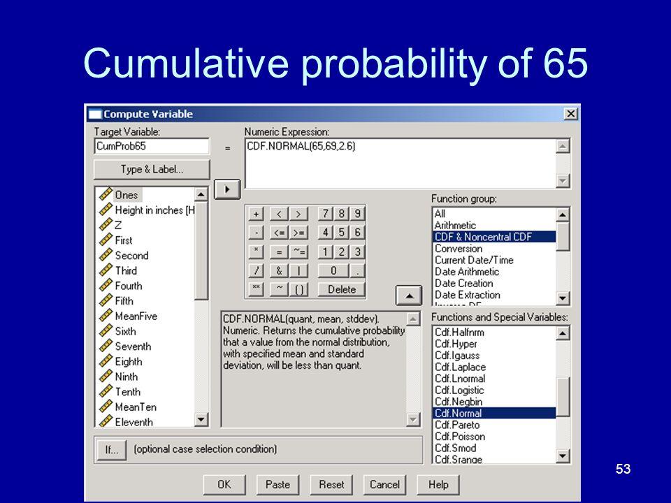 Cumulative probability of 65