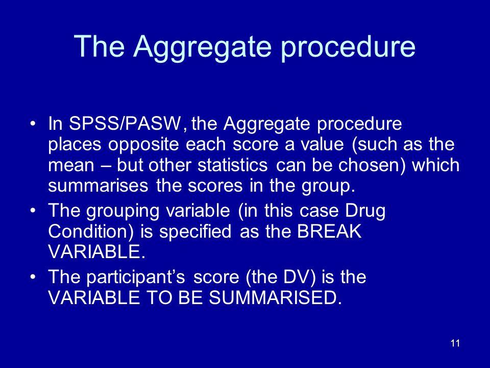 The Aggregate procedure