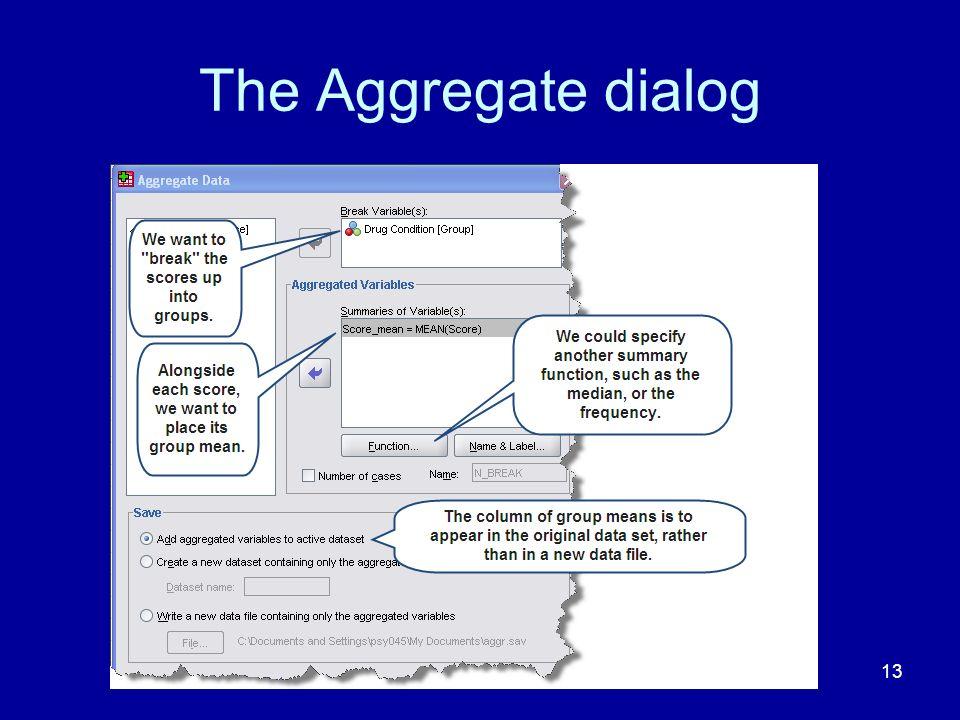 The Aggregate dialog