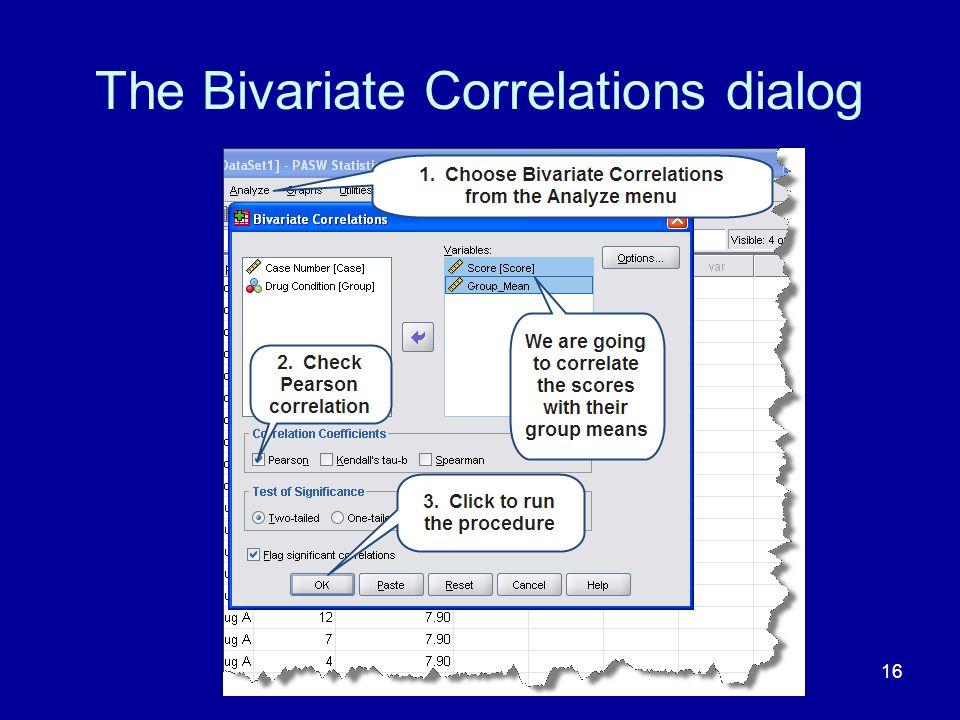 The Bivariate Correlations dialog