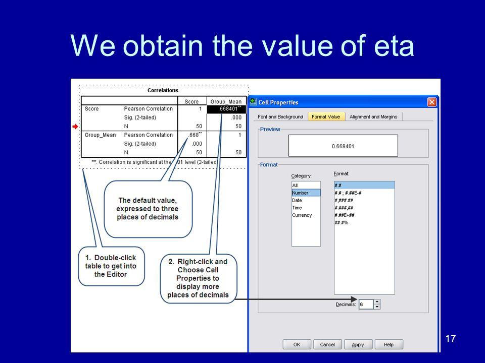 We obtain the value of eta