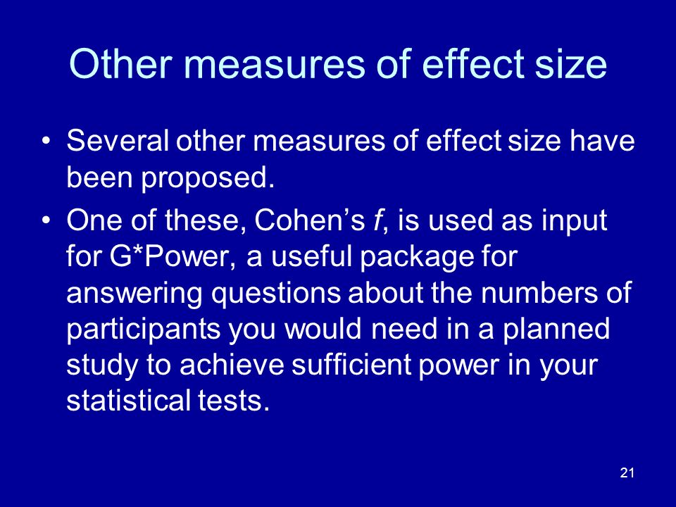 Other measures of effect size