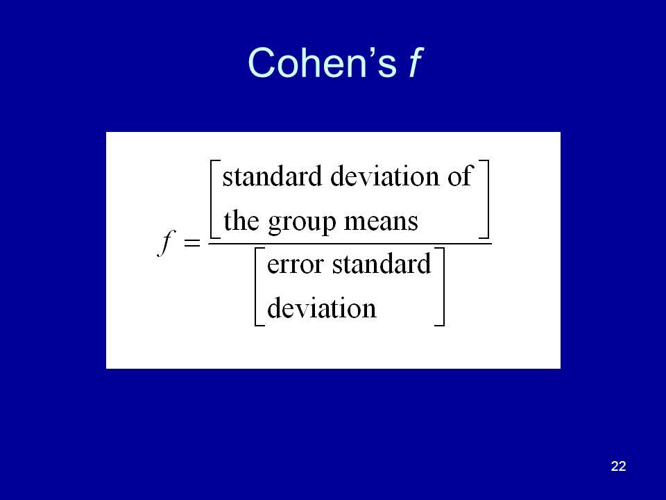 Cohen's f
