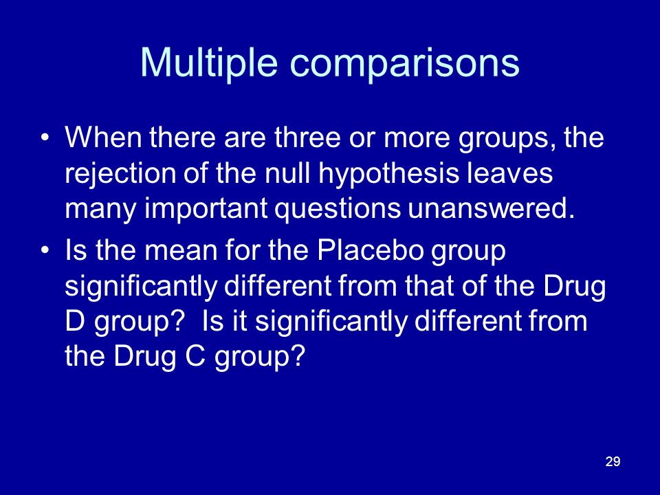 Multiple comparisons When there are three or more groups, the rejection of the null hypothesis leaves many important questions unanswered.