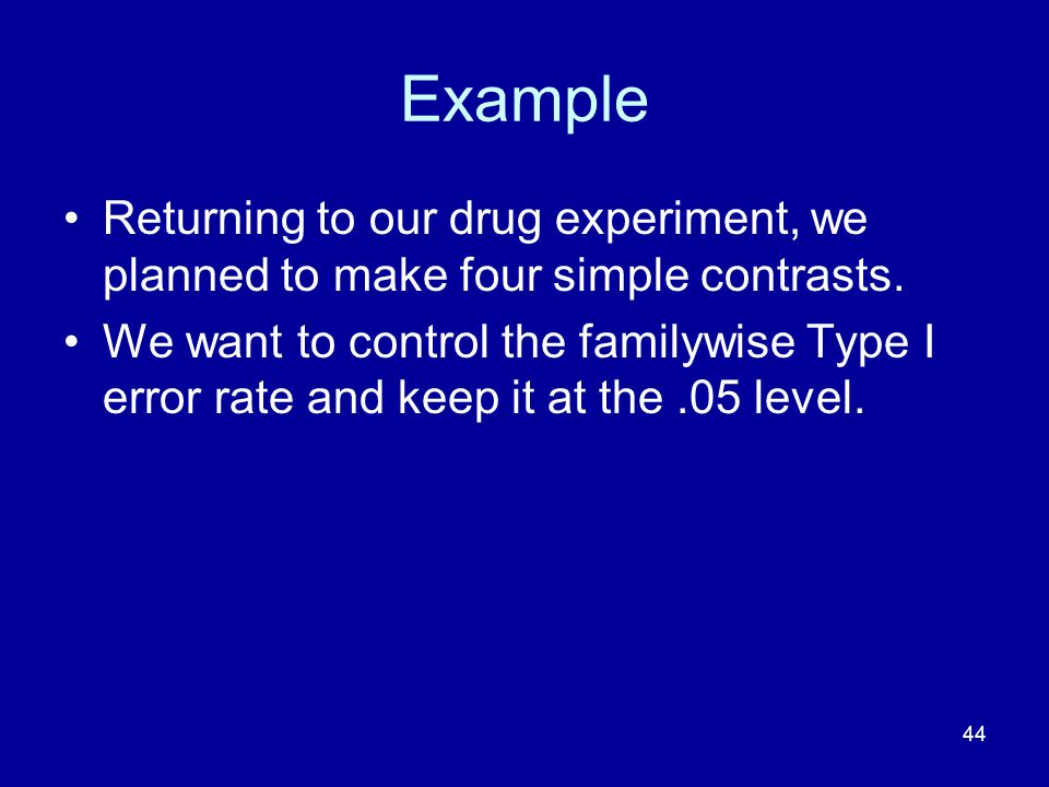 Example Returning to our drug experiment, we planned to make four simple contrasts.