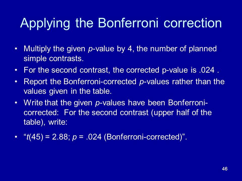 Applying the Bonferroni correction